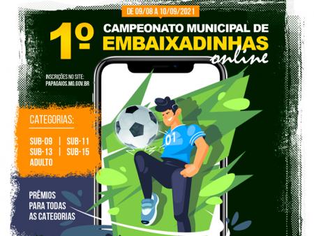 Vai começar o 1º Campeonato Municipal de Embaixadinhas Online de Papagaios!